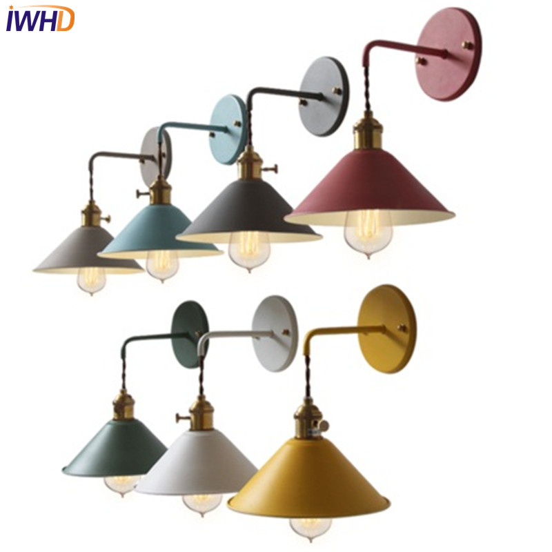 IWHD Nordic Loft Style Edison Wall Sconce Industrial Vintage Wall Lamp Simple Iron LED Wall Light For Home Indoor Lighting top grade wood handcrafted swing arm light sconce led wall lamp nordic style home decoration lighting e27 black with switch