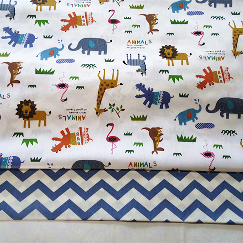 half meter 100% cotton twill fabric infant baby children bed sheet bed sack cloth, elephant flamingo animal print for you A736