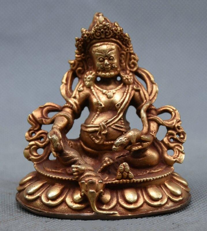 Tibet Buddhism Bronze Gilt Gold Mammon Wealth God Yellow Jambhala Buddha StatueTibet Buddhism Bronze Gilt Gold Mammon Wealth God Yellow Jambhala Buddha Statue