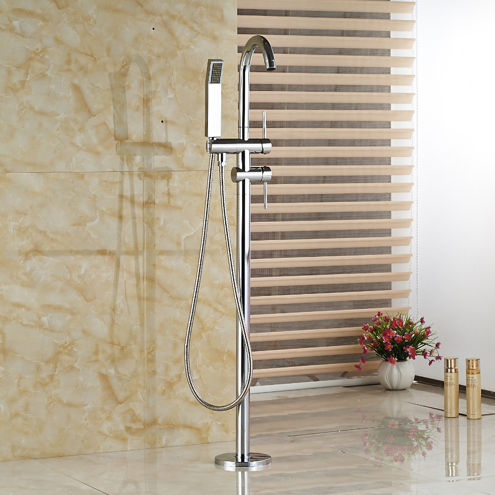 Wholesale And Retail Chrome Brass Floor Mounted Bathroom Tub Faucet + Hand Shower Free Standing Tub Filler wholesale and retail promotion deck mounted chrome brass waterfall spout bathroom tub faucet w hand shower