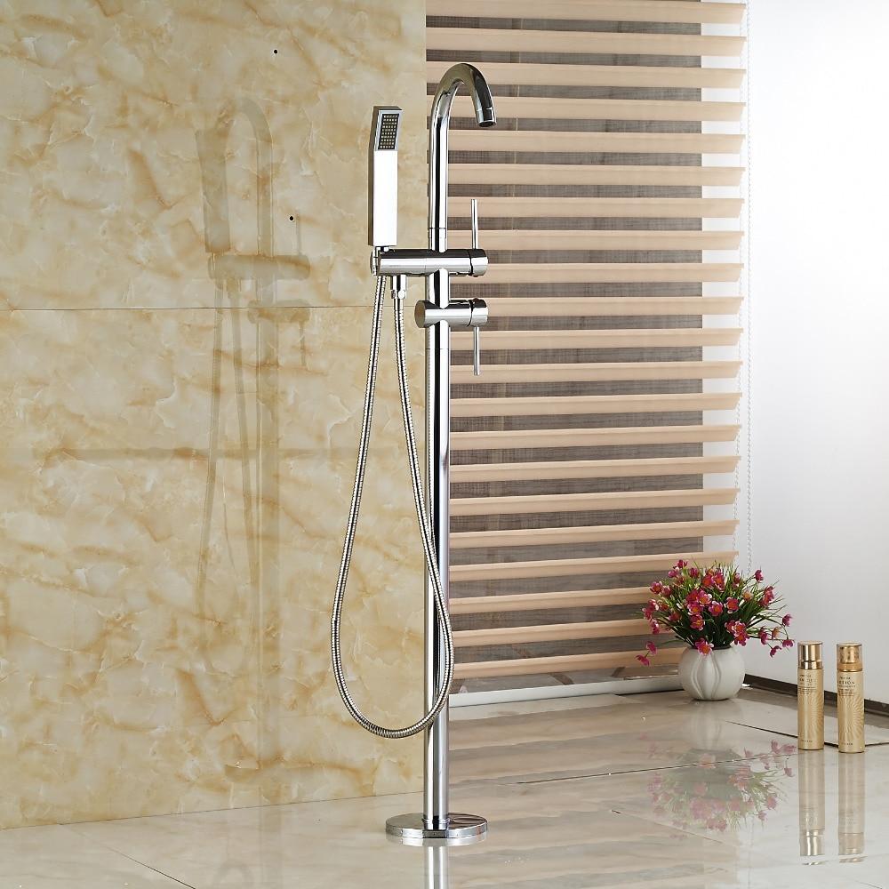 Здесь продается  Wholesale And Retail Chrome Brass Floor Mounted Bathroom Tub Faucet + Hand Shower Free Standing Tub Filler  Строительство и Недвижимость