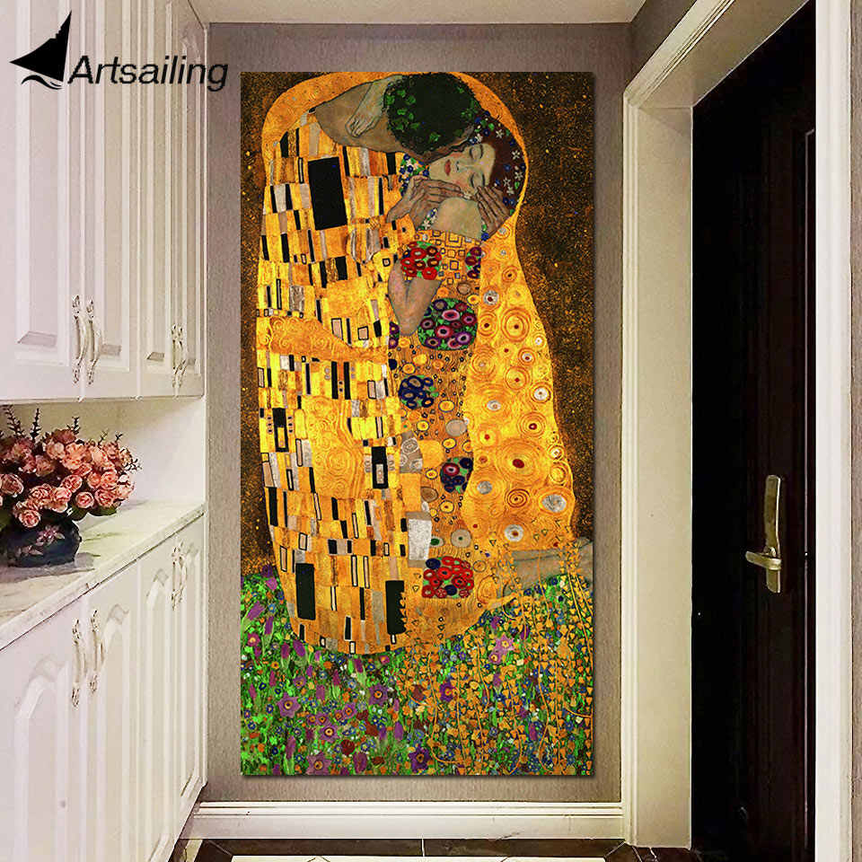The Kiss Gustav Klimt oil and gold leaf on canvas 1 piece Wall Art huge Modern Decor Printed Painting Canvas Pictures