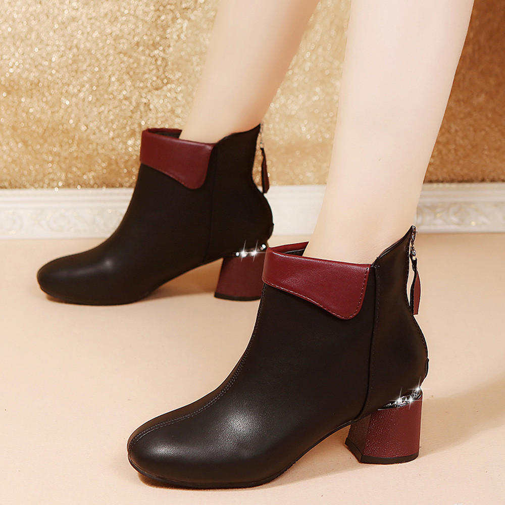 New Winter Women Boots Leather Keep Warm Short Boots Lady High Heel Mixed Color Round Toe Shoes Short Plush Boot botas feminina