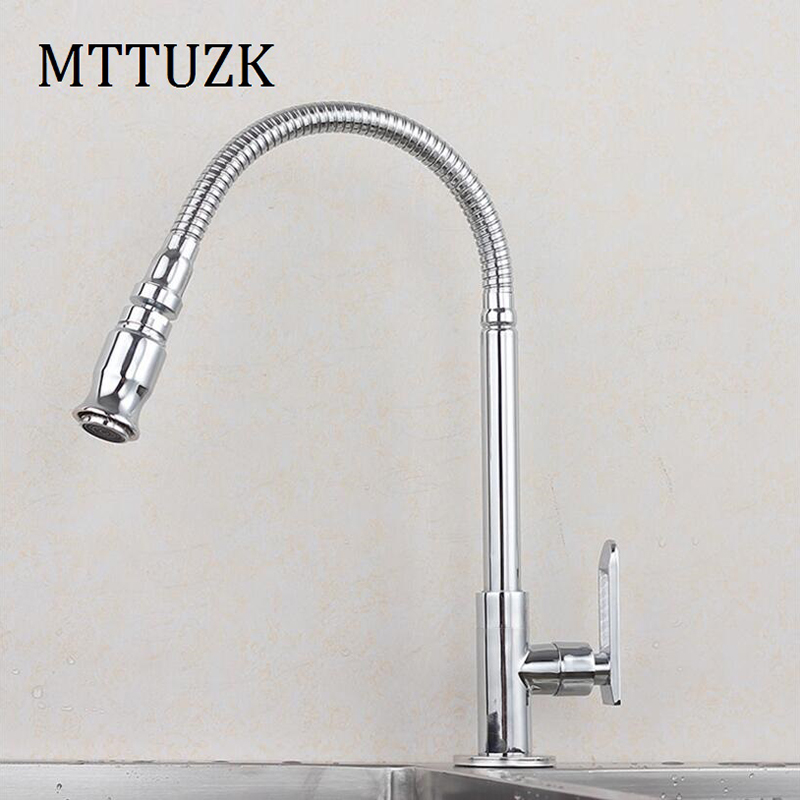 MTTUZK Solid Brass Deck Mounted Universal water Kitchen Single Cold Faucet Single Hole Water Tap 360