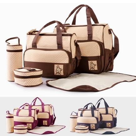 Liela ietilpība 5gab / komplekts Tote Baby plecu autiņbiksīšu somas Izturīga autiņbiksīšu soma Dizainera māmiņa mātes bērnu somas Ratiņu māmiņa soma