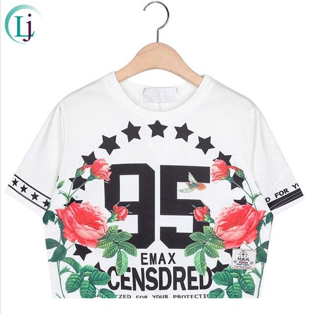 2015 Hot Women Summer Crop top Harajuku O-neck Short-sleeve Number 95 Floral Star Print Tops Short T-shirt Street Fashion Tee