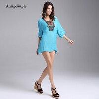 Wangcangli Europe And America 2018 Summer For Women Dress O Neck Loose Waist Large Size 3xl