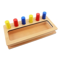 Montessori Materials Kids Toy Baby Wood Tri color Cylinder Insert Box Learning Educational Preschool Training Brinquedos Juguets