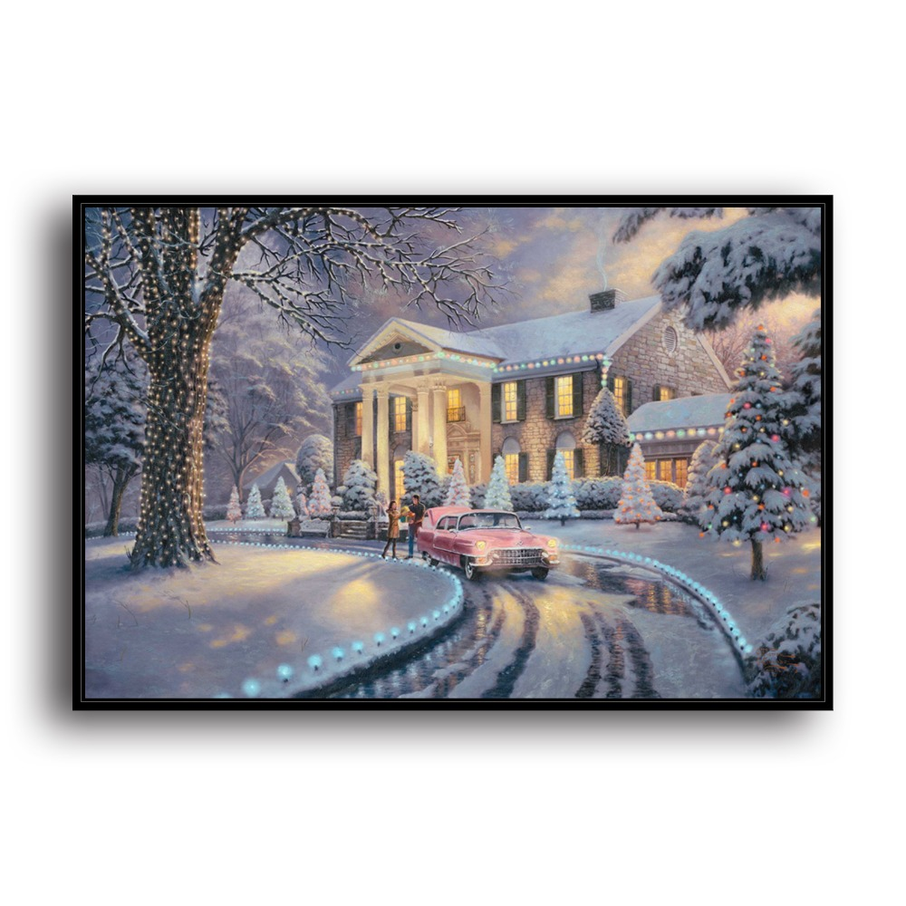 Painting & Calligraphy Hd Canvas Print Home Decoration Living Room Bedroom Wall Pictures Art Painting At All Costs Able H1168 Thomas Kinkade Graceland Christmas