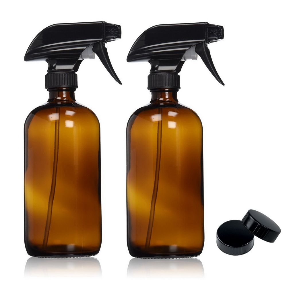 2pcs 500ml Large Refillable 16 Oz Amber Glass Spray Bottles for cleaning aromatherapy essential oil with black trigger spray top