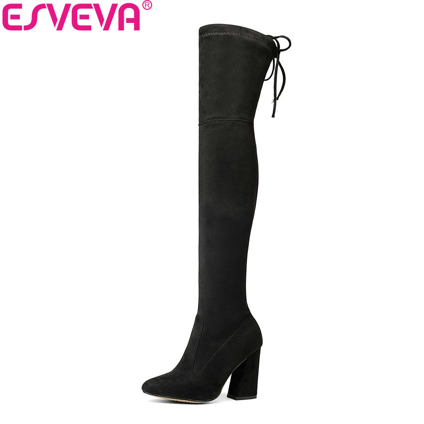ESVEVA 2017 Women Boots Flock Over The Knee Boots Round Toe Women Boots Ladies Party Western Stretch Fabric Boots Big Size 34-43 esveva 2017 western style flock women boots over the knee boots winter square high heel ladies lace up fashion boots size 34 43