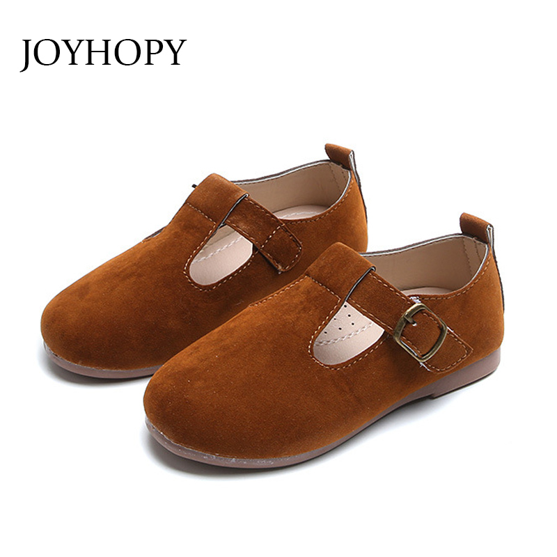 Solid Color Leather Girl Flat Shoes Toddler Casual Shoes Brand Kids Children Shoes Size 21-30