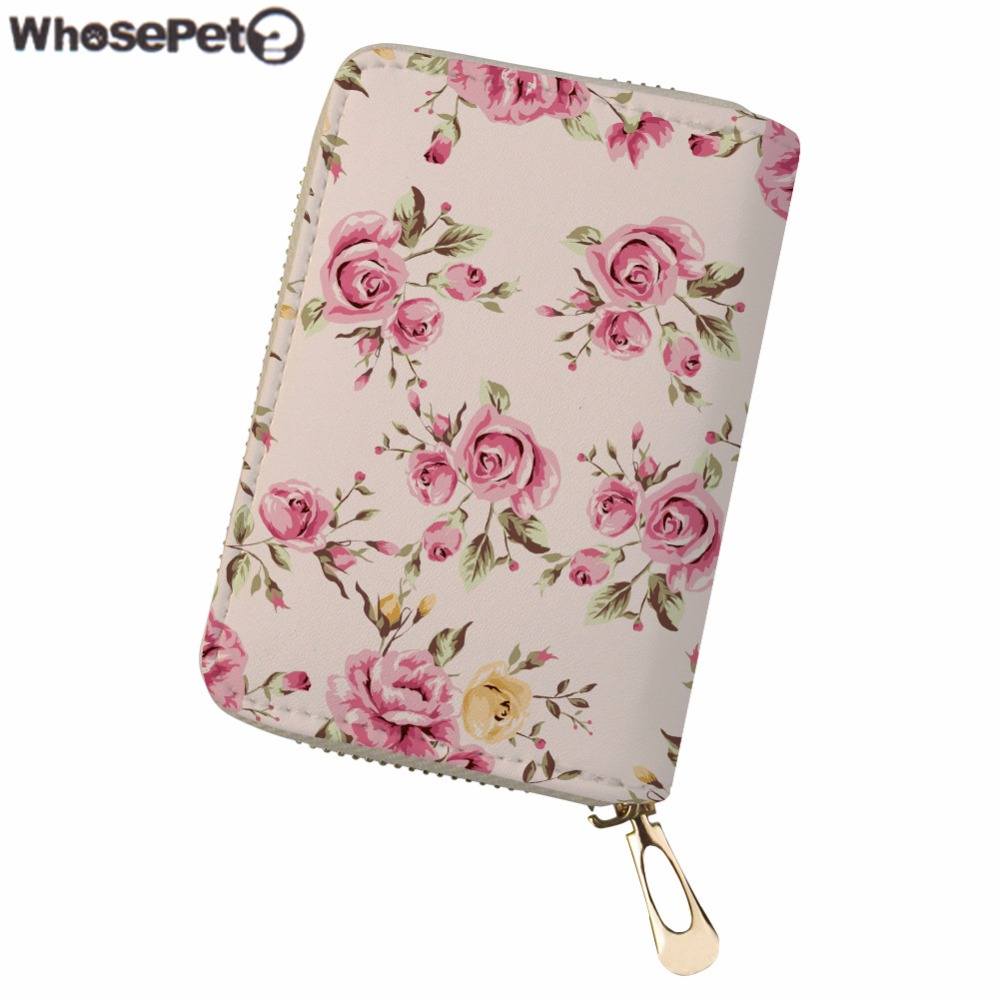 Whosepet Для женщин кредитной держатель для карт Цветочный принт из искусственной кожи ID карты дамы отделения для карточек водительские права ... ...