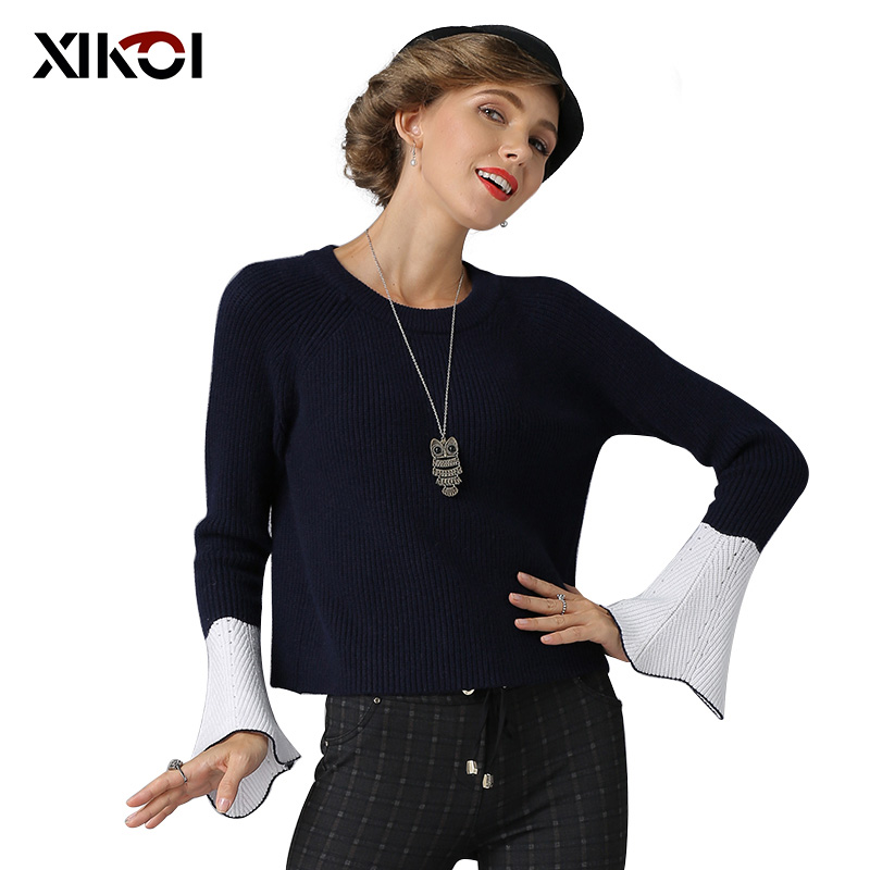XIKOI 2018 Women Sweater Thick Casual O-Neck Knitted Flare Sleeve Sweaters Lady Winter Pullovers Women Christmas Sweaters