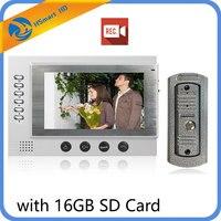 7 Inch Color LCD Video Door Phone Intercom System Door Release Unlock Color Doorbell Camera Night Vision With 16GB SD Card Lock