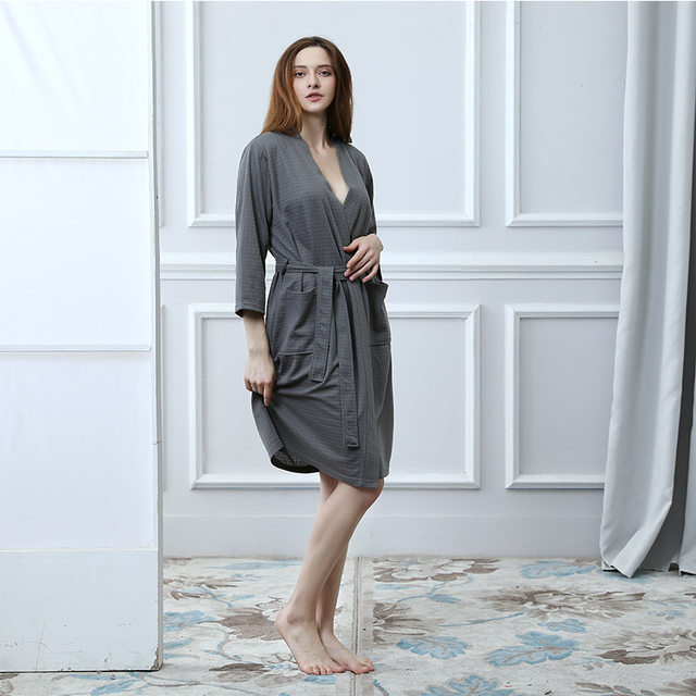 2f90c59c0a Online Shop Towel Bath Robe Grey Dressing Gown for Women Men Solid ...