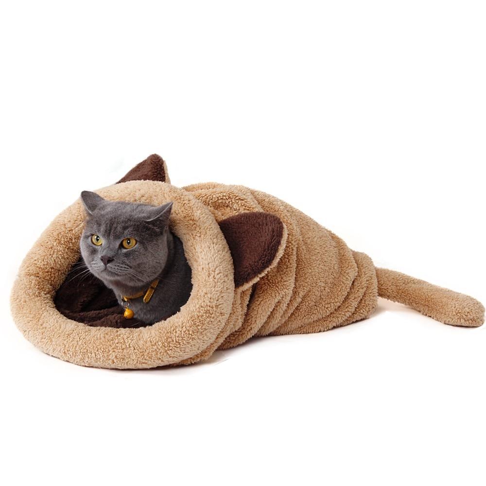 Cute Cat Sleeping Bag Warm Dog Cat Bed Pet Dog House Lovely Soft Pet Cat Mat