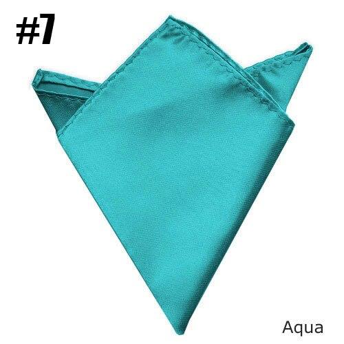 Solid Pocket Square AQUA Towel Wedding Satin Handkerchief
