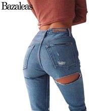 Bazaleas 2017 Женщины Push Up Джинсы Стрейч Высокой Талии Брюки сексуальная Выкл Хип Отверстие Брюки Разорвал Брюки Мода Femme Свободные джинсы