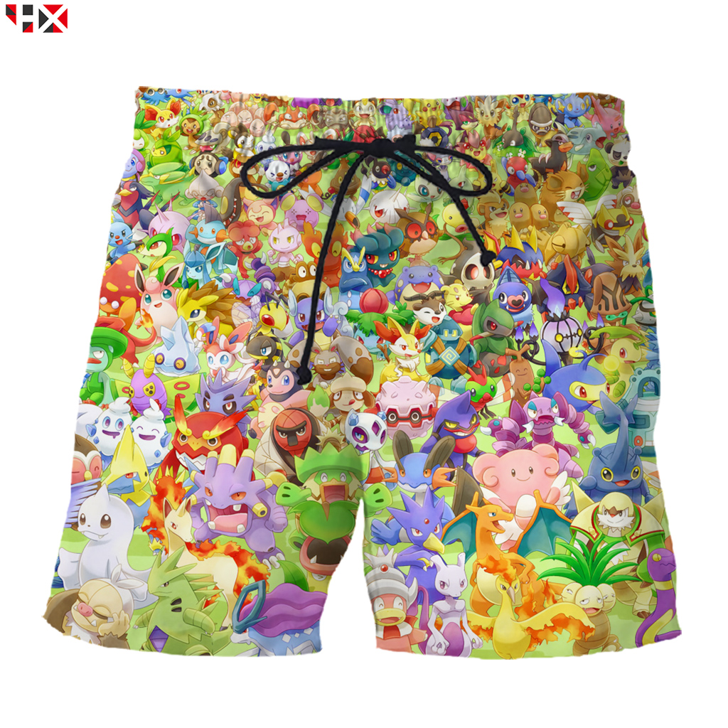 Men Board Shorts Cartoon Pokemon Funny 3D Print Shorts Men/Women Anime Elf Streetwear Harajuku Style Beach Shorts S118