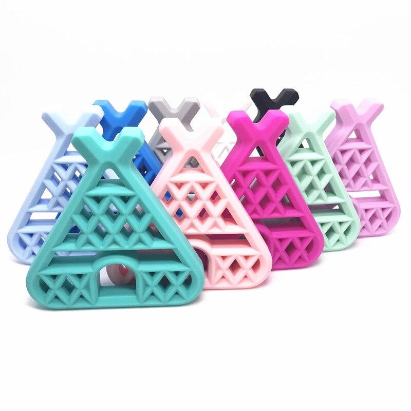 50 PCS Teepee Teether Baby Pacifier Chain BPA Free Baby Teething Toys DIY Feeding Nipple Chain