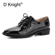 Fashion Patent Leather Oxfords For Women Elegant Ladies Casual Lace Up Oxford Shoes Vintage England Style Square Toe Women Flats instantarts women s flats casual leather shoes for women breathable ladies lace up sunflower oxfords butterfly floral flats shoe