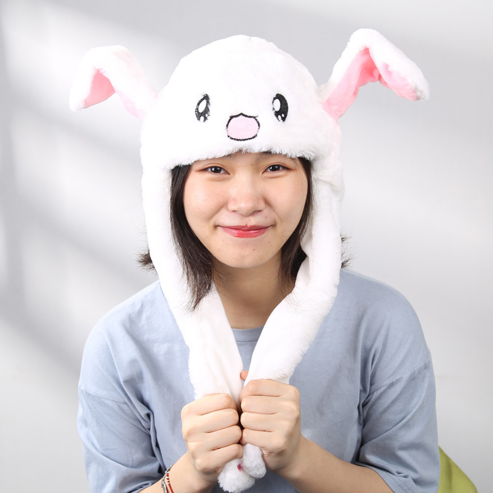 Christmas Plush Moving Rabbit Ears Hat Hand Pinching Ear To Move Vertical Ears Cap Kids Gilrs Women Party Stage Performance Gift