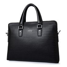 Купить с кэшбэком New Luxury Woven Pattern Cowhide Male Commercial Briefcase/Genuine Leather Fashion Men's Messenger Bag/Casual Men's Busienss Bag