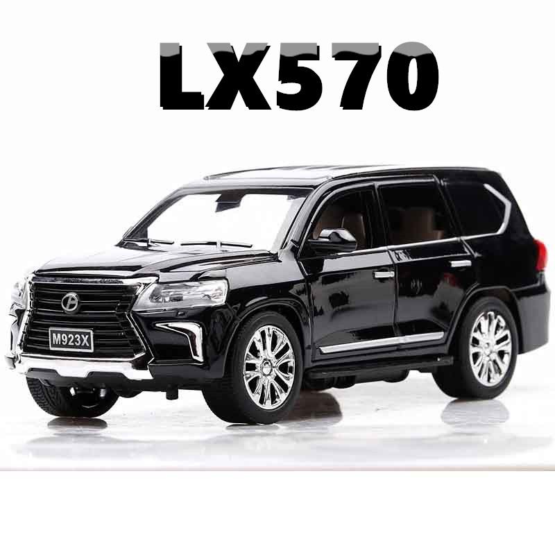 Alloy 1:24 LX570  Metal Model Pull Back Toy Cars Light Sound Diecast Vehicle Toys Car For Children Adults Collection