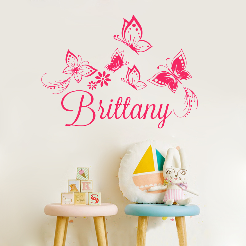 Zn A1 Personalized Custom Name Butterflies Wall Sticker