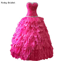 Ruby Bridal 2017 Vestidos De Fiesta Pleats Beaded Rose Red Organza Satin Prom Dresses Strapless Ball Gown Quinceanera Gown LP001