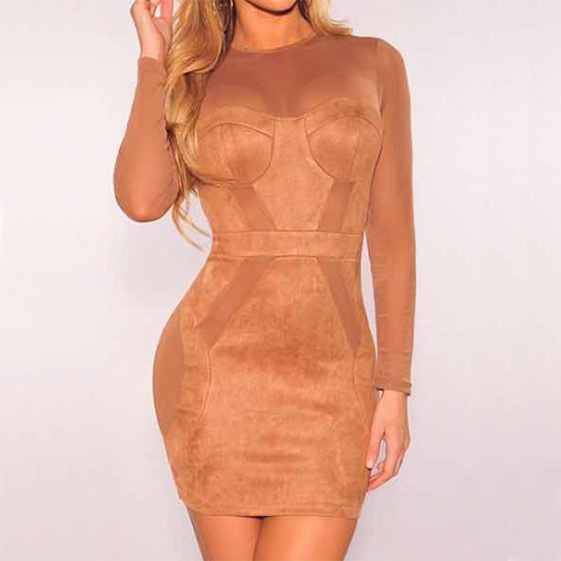 Women's Clothing Hearty 2018 New Style Fashion Brown Patchwork Mesh And Suede Dress Elegant O Neck Long Sleeve Bodycon Night Club Party Dresses Vestidos