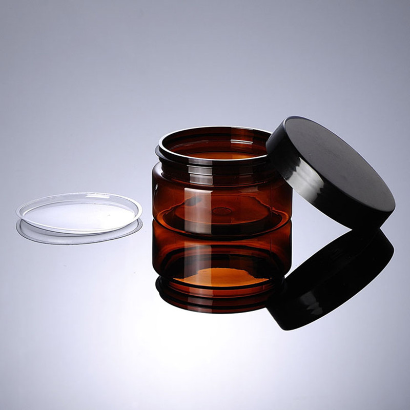 Купить с кэшбэком 24  x100g Empty Refillable Amber Plastic Jar With Plastic Black Lids  Cosmetic Containers Sample  Cream Jars Cosmetic Packaging