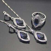Clásicos de Ley 925 Astilla Azul Creado Zafiro Topacio Blanco Sistemas de La Joyería Para Las Mujeres Collar Colgante Pendientes Anillo de Caja Libre