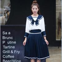 Japan Anime Girls School Student Uniform Sailor suit High school student uniform COSPLAY Sets long sleeve JK uniform costume