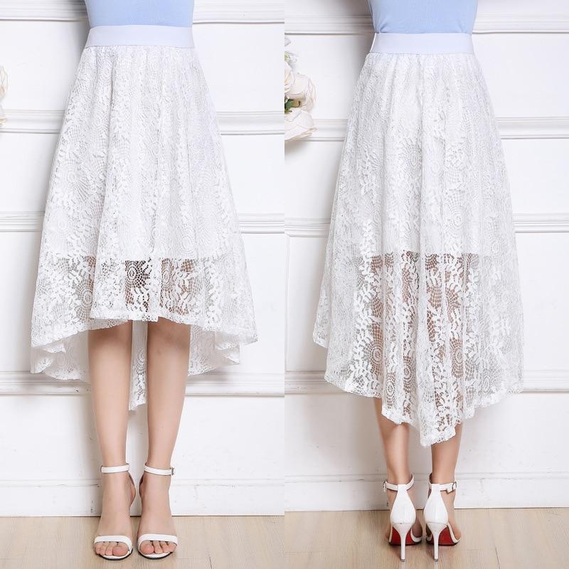 SKIRT GIRL WOMEN Summer new high-waisted lace A word big swing skirt short front long dovetail skirt