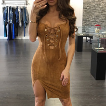 MSSNNG 2017 Women Sexy Party Bodycon Dress Brown Summer Sleeveless Black Lace Up Dress Red Cami Dress Blue Khaki vestidos robe