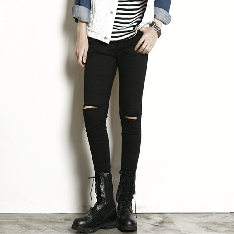 ФОТО 2017 Spring knee black skinny pants slim hole jeans male slim pencil pants