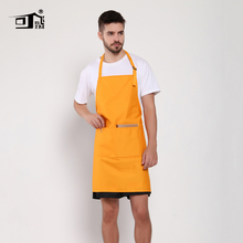Original KEFEI Yellow Fabric Easy to Clean Bib Long Apron 3 Pockets Single Slider Accept Custom Aprons for Women Kitchen