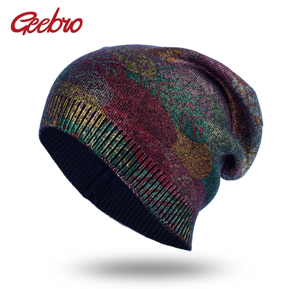 Geebro New Women's Bronzing Cashmere Beanies Hat Casual Spring Wool Knitted Hats Ladies Metallic Color Print Slouchy Beanie Cap