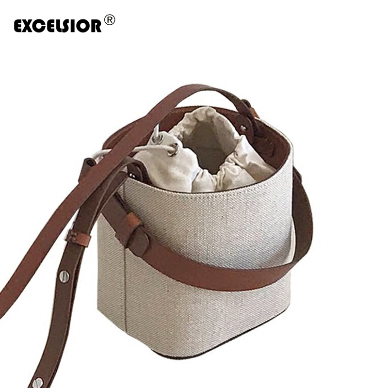 EXCELSIOR 2018 New Straw Bucket Bag Beach Handbag Weave Korean Version Shoulder Messenger Bag Portable Crossbody Bag G1696