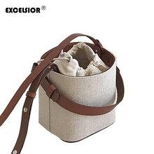 EXCELSIOR Fashion Bucket Bag Women's Crossbody Bags Beach Handbag Weave Portable Shoulder Messenger Bag with Detachable Strap