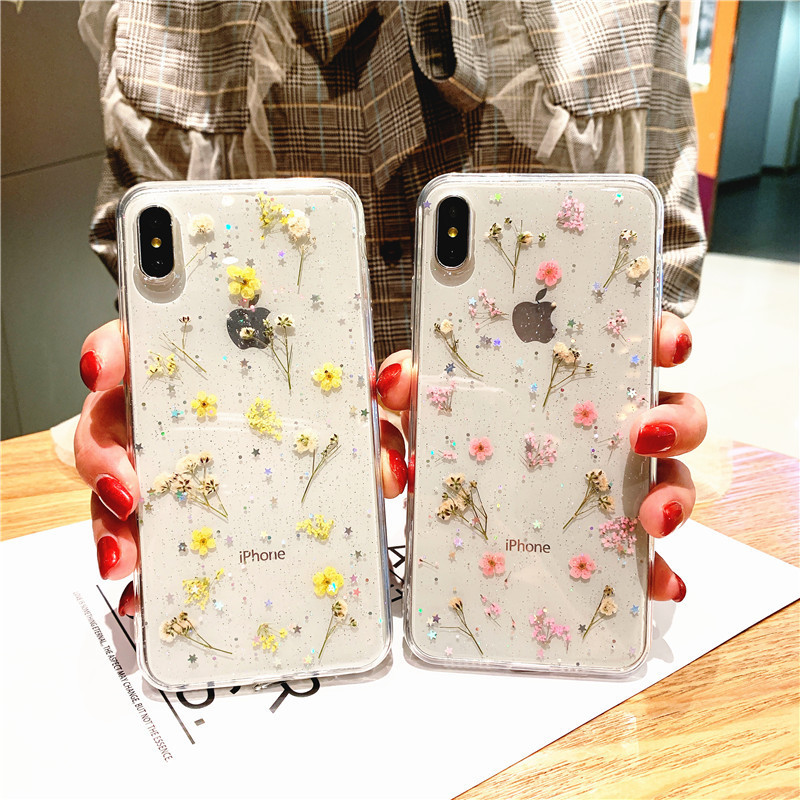 Image 2 - Real Flowers Dried Flowers Transparent Soft TPU Case For iPhone 6 6s 7 8 Plus X XR XS Max  Phone Case For iPhone 7  Cover-in Fitted Cases from Cellphones & Telecommunications