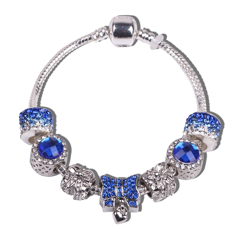 Blue Fimo Perla Con Pulsera De Plata Tono Flex-Longitud 18cm
