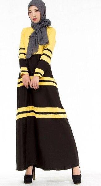 bf1b4252ed025 US $22.0  New Fashion Elegant Muslim Dress Female Blue Pink Yellow Striped  Islamic Garment Ethnic Clothing Long Sleeve Women Gown rober-in Islamic ...