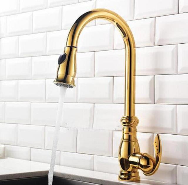 Gold Kitchen Faucet Replacing Cabinets Free Shipping Pull Out Torneira Cozinha Sink Mixer Faucets Tap Kf498
