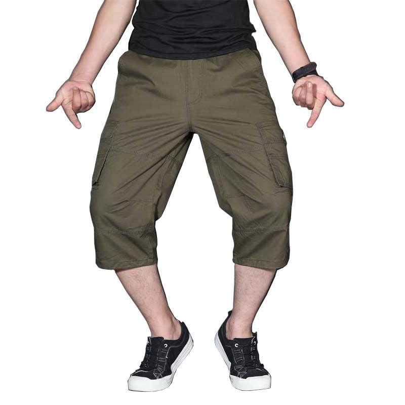 Men's Summer Cargo Short Pants 3/4 Length Straight Loose Baggy Short Boardshort Male Clothing Hip Hop Short Plus Size S-5XL