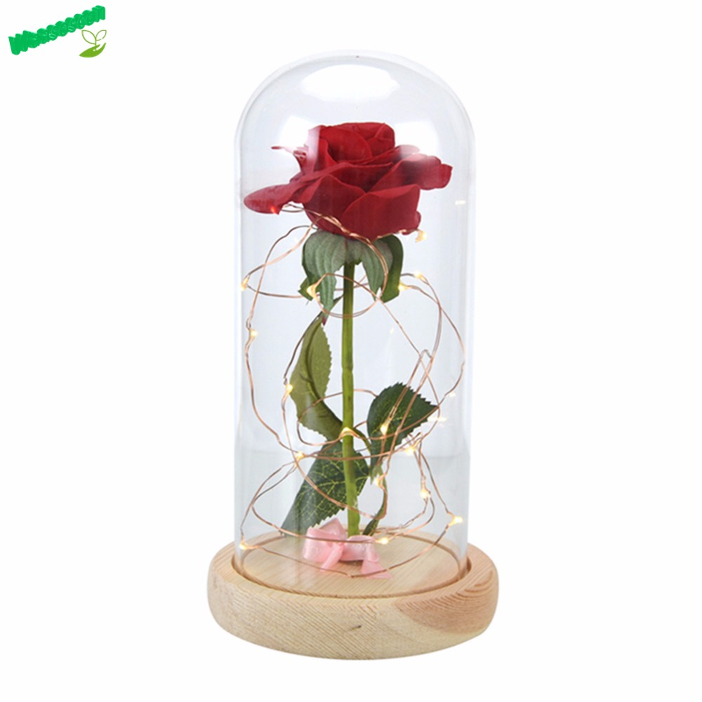 Wr birthday gift beauty and the beast red rose w fallen petals in a wr birthday gift beauty and the beast red rose w fallen petals in a glass dome on a wooden base for christmas valentines gifts in artificial dried izmirmasajfo