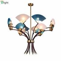 Пост современный минимализм Кристалл Стекло вентилятор люстра E14 LED китайские люстры Освещение вилла роскошные подвесные светильники