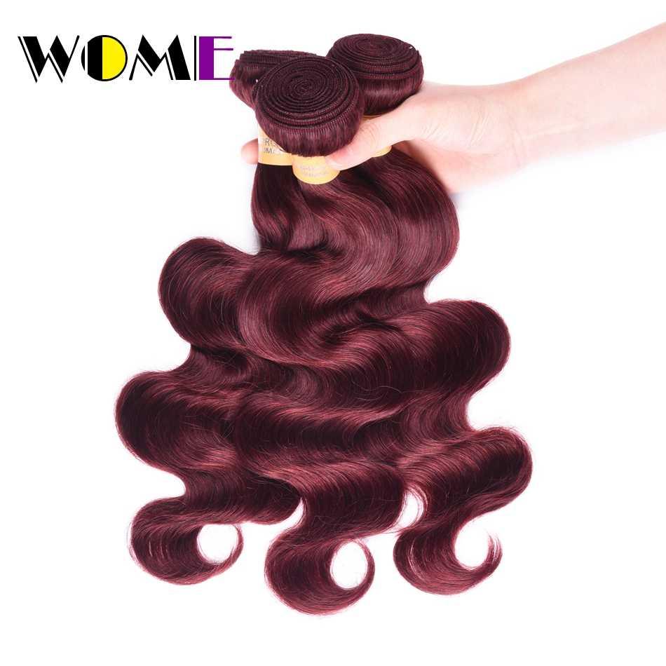 Wome красные пучки волос предложение # 99J цвет красного вина индийские объемные волнистые волосы 4 пучка бирманские бордовые волосы для наращивания дешевые пакеты